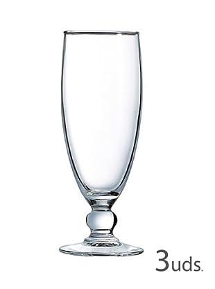 Luminarc Estuche 3 Copas Champan Flauta 19 Cl Modelo Costa Transparente