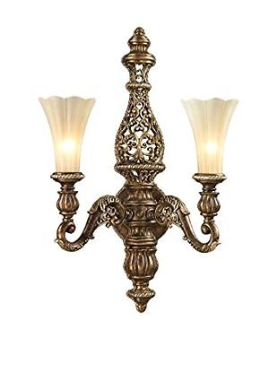 Artistic Lighting Allesandria 2-Light LED Wall Sconce, Burnt Bronze/Weathered Gold Leaf