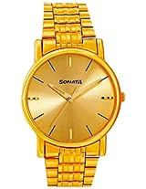 Sonata Analog Gold Dial Men's Watch - NF7987YM06J
