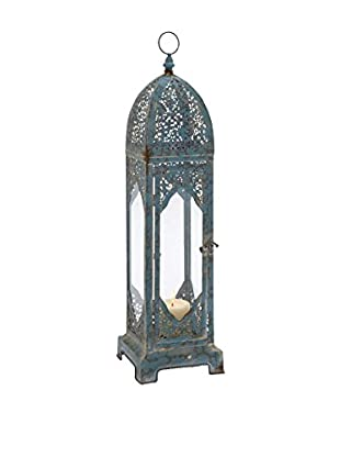 Blue Metal and Glass Tall Lantern