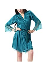 Hot N Sweet Women Blue Satin Two Pcs Nighty-2908