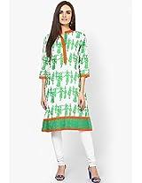 Green Cotton Printed Kurta