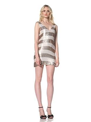 Parker Women's Wide Striped Sequin V Neck Dress (Natural)