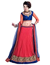Manvaa Red And Blue Net Embroidered Lehenga