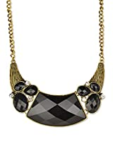 Fayon Party Style Diva Black Rhinestone Charm Necklace