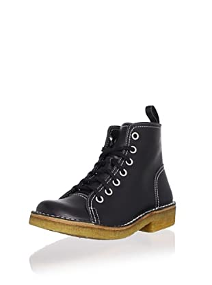 Swedish Hasbeens Women's Lace-Up Duck Boot (Black/White Stitches)