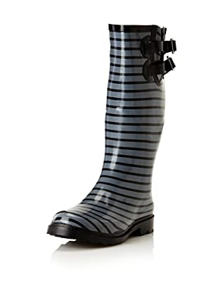 Chooka Women's Premium Stripe Rain Boot (Black/Charcoal)