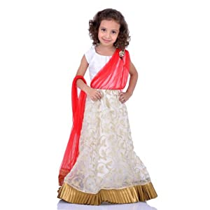 K&U Offwhite Gold and Red Lehenga Saree-3119 :12-18 Months