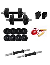 AURION DUMBBELL SET 8 KG COMBO OFFER GLOVE+ROPE