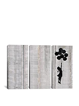 Banksy Flying Balloons Girl Gallery Wrapped Triptych Canvas Print