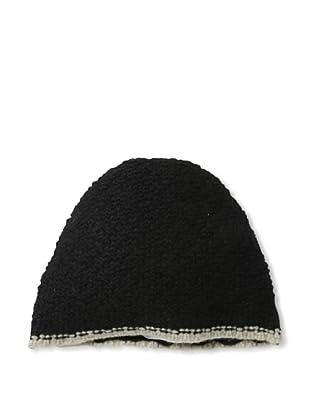 Sofia Cashmere Men's Seed Stitch Skull Cap (Black/Oatmeal)