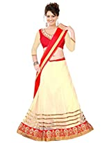 Ustaad Womens Georgette Lehenga Choli (Uhfvc_05 _Cream Red _Free Size)