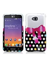 Aimo Wireless Protective Cover for LG Optimus L70 /Optimus Exceed 2 - Retail Packaging - Polka Dot/Bow Tie