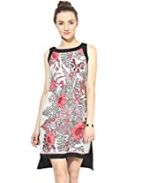 Magnetic Designs Women's Scarf Printed Bodycon Dress (MDDR268_Black_X-Large)