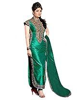 Ninecolours Banglori Silk Straight Salwar Suit in Green Colour