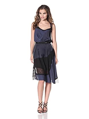 Nina Ricci Women's Patchwork Dress with Snap Detail (Navy/Black)