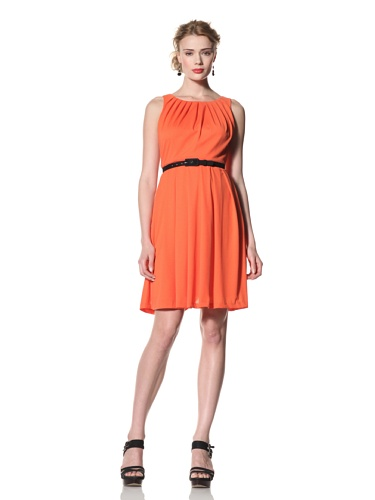 Eva Franco Women's Atticus Fit & Flare Dress with Pleated Neckline (Tangerine)
