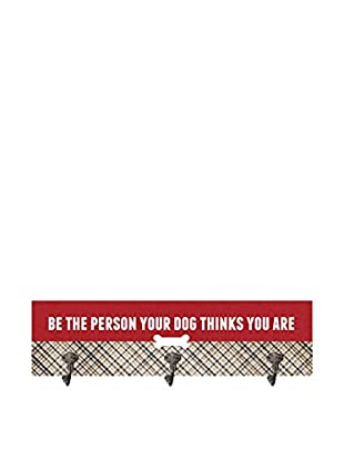 Artehouse Be The Person Leash Hanger, Red/Beige