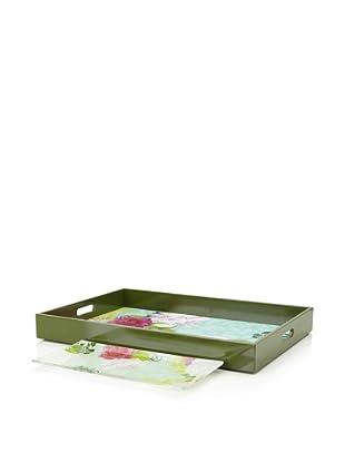 Mudlark Wood and Glass Tray Set, Giardino