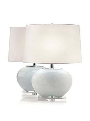 Lamp Works Set of 2 Oval Glass Lamps (Grey)