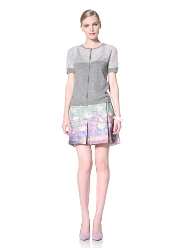 Timo Weiland Women's Short Sleeve Cardigan with Printed Panels (Grey with Pizval)