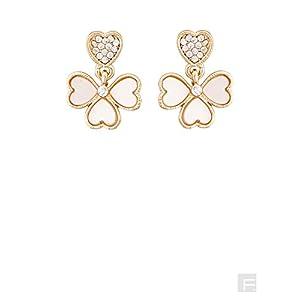 Cream Heart Drop Earrings-Gold-FS