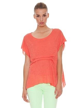 Hakei Camiseta Linen Delantero Fantasía (Coral)
