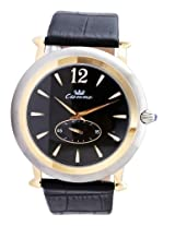 Luxury Ronda Quartz Movement Ss-Gold Case 30 M Black Lthr Second @6 Men's Watch