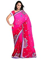 Sehgall Saree Indian Ethnic Professional Rani Georgette Shaded Embroidery Saree