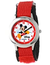 Disney Kids W000012 Time Teacher Mickey Mouse Stainless Steel Watch with Red Nylon Strap