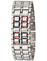 GGI International Men's MLed-Lava-SR Silver Stainless Steel Lava Red LED Digital Bracelet Watch