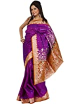 Exotic India Valkalam Banarasi Saree with Golden Bootis and Brocaded Anchal - Color Passion PurpleColor Free Size