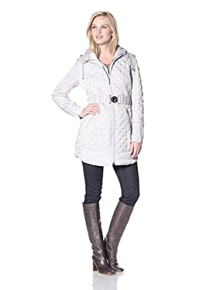 Laundry by Shelli Segal Women's Long Mini Quilt Coat with Hood (Pebble)