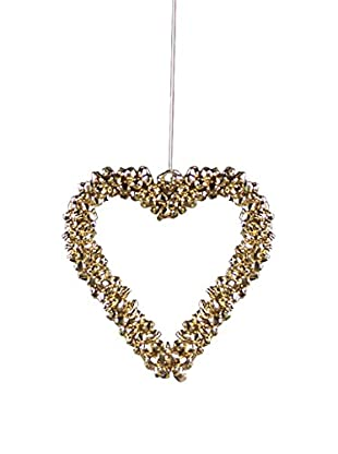 Medium Gold Jingle Bell Heart Ornament