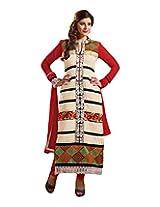 Sonal Trendz Women's Faux Georgette White Designer Semi Stitched Salwar Suit