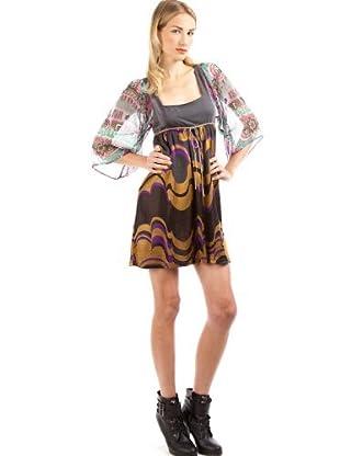 Custo Vestido Anais Ondine (Gris / Mostaza / Morado)