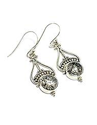 Gemoratti 925 Silver Black Rutile Earrings For Women - B00MIJDWBA