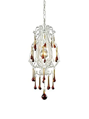 Artistic Lighting Opulence 1-Light Pendant, Antique White/Amber Crystals