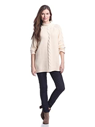 525 America Women's Center Cable Sweater (Natural)