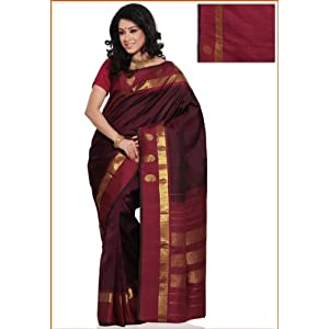 Wine Pure Kanchipuram Handloom Silk Saree with Blouse