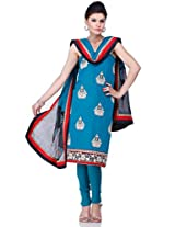 Blue Chanderi Embroidery Suit Dupatta Unstitched