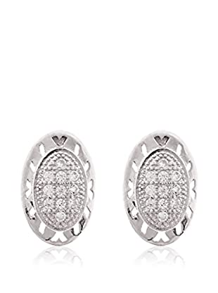 Silver One Pendientes Diamantado Oval Zirconium