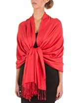 "78"" x 28"" Eco-Friendly Bamboo Rayon Soft Solid Pashmina Shawl / Wrap / Stole - Coral"
