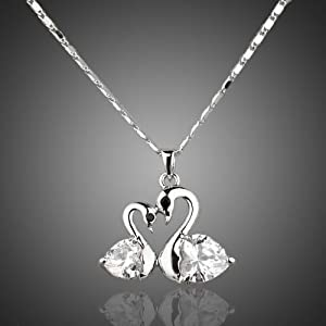 Platinum Plated Big goose and little goose connected Pendant Necklace