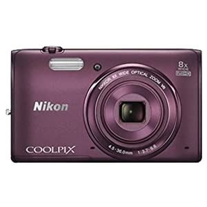 Nikon S5300 16MP Point and Shoot Camera (Plum) with 8x Optical Zoom, 8GB Card and Camera Case