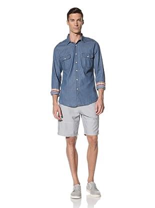 White Picket Fences Men's Linden Chambray Shirt (Dark Blue)