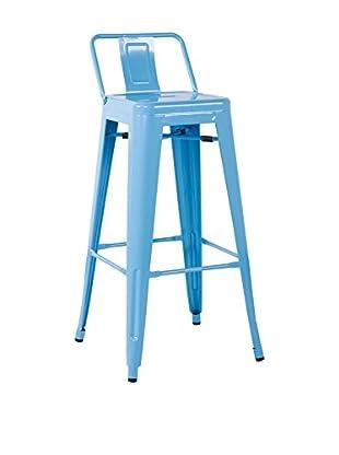 LO+DEMODA Set Taburete de bar 2 Uds. Metal Ural Square Azul Claro