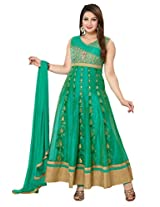 Ritu Creation Women's New Party Wear Silk Stitched Anarkali Suit With Kali Work(RITU275_1_L_Green)