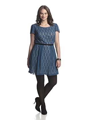 Single Plus Women's Lace Swing Dress (Teal/Nude)