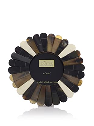 Purva Round Scallop Horn Frame (Black/White)